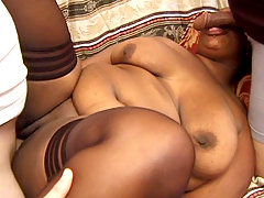 Large ebony fatty Naughtya gets creamed after letting two hunks stuff her sex holes with meat stick