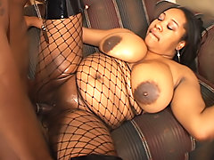 Black BBW's shaved pussy is banged hard