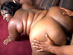 Lusty black fatty Nomi enjoys having her face hole stretched and filled with a cock and cum