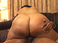 Chubby brown body is oiled up and pounded