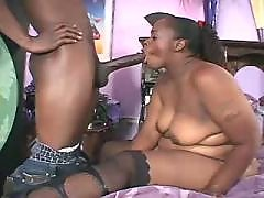 Chubby ebony beauty fucks non stop
